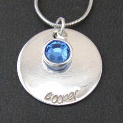 Love Pendant | Sterling Silver Name Pendant | Swarovski Crystal