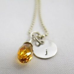 Little Letter of Love | Initial Necklace Sterling Silver | Swarovski Briolette