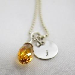 Little Letter of Love | Initial Necklace Sterling Silver | Swarovski Briolette
