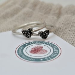 Fingerprint Heart Stacking Rings