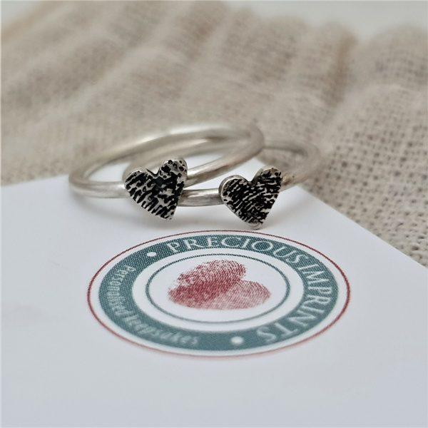 Fingerprint Heart Stacking Rings