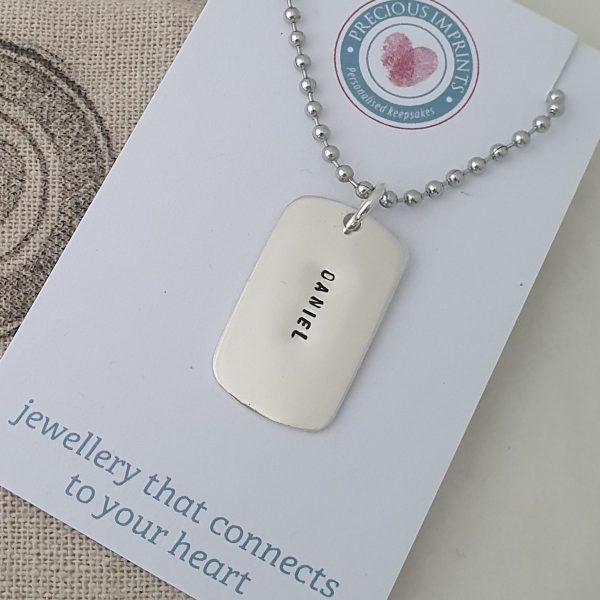 Medium sized personalised dog tag pendant