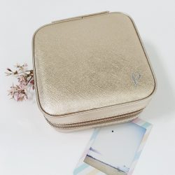 Monogrammed Travel Jewellery Box – Gold