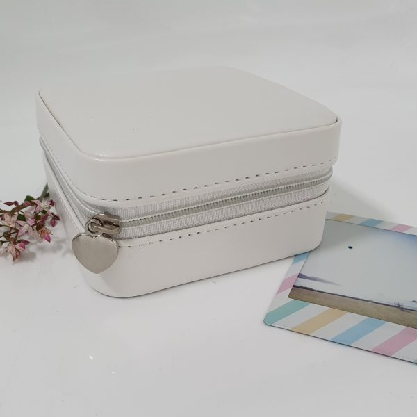 small white personalised travel jewellery box