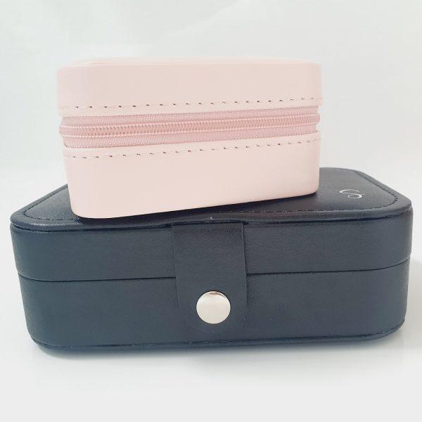 Personalised travel jewellery box pink