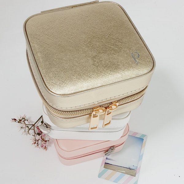 small gold travel jewellery box monogrammed