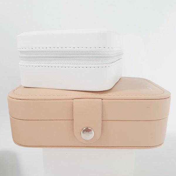 Tan personalised travel jewellery box