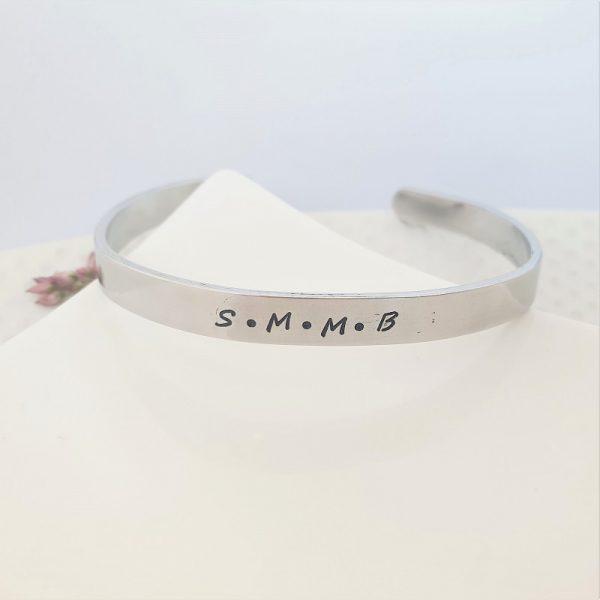 Personalised Aluminium Cuff bracelet 6mm