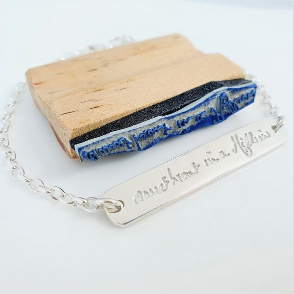 Handwriting stamp and Sterling Silver bracelet