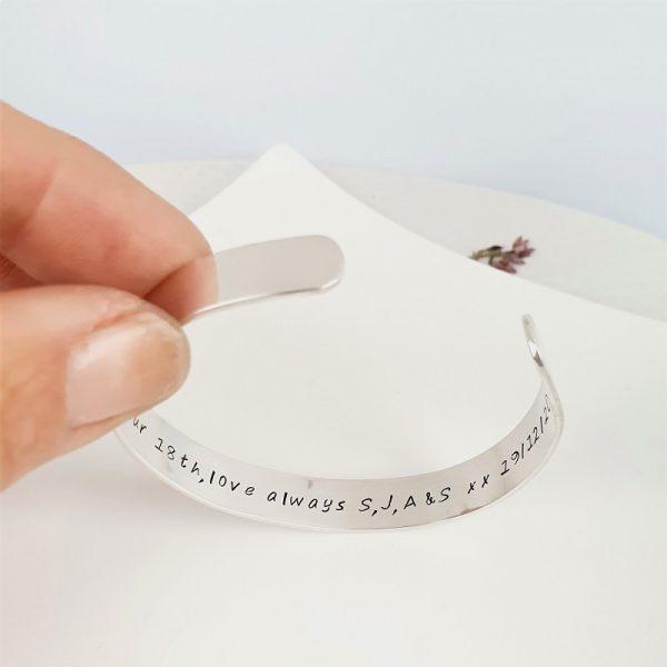 Personalised Sterling Silver Cuff bracelet 9mm