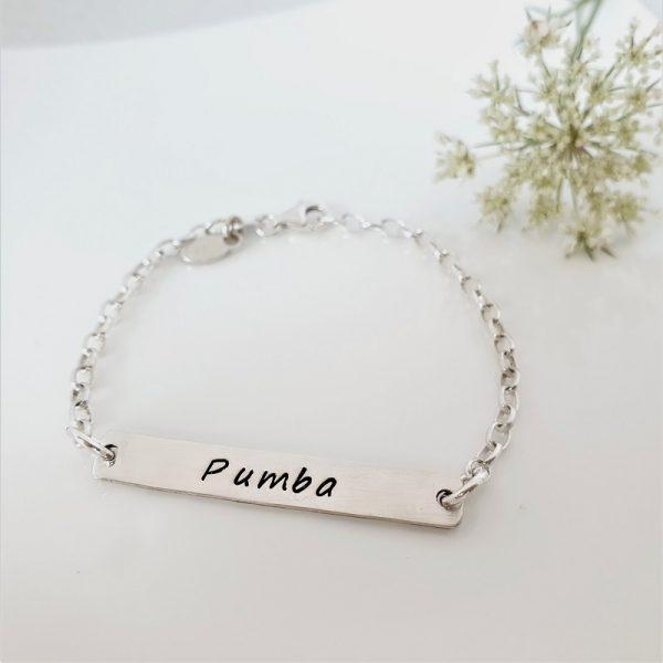 Personalised Sterling Silver Bar ID bracelet