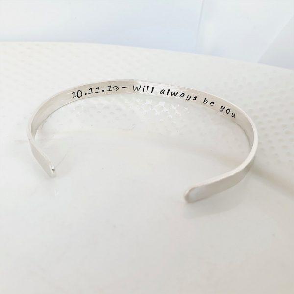 Sterling Silver Personalised Cuff bracelet 5mm