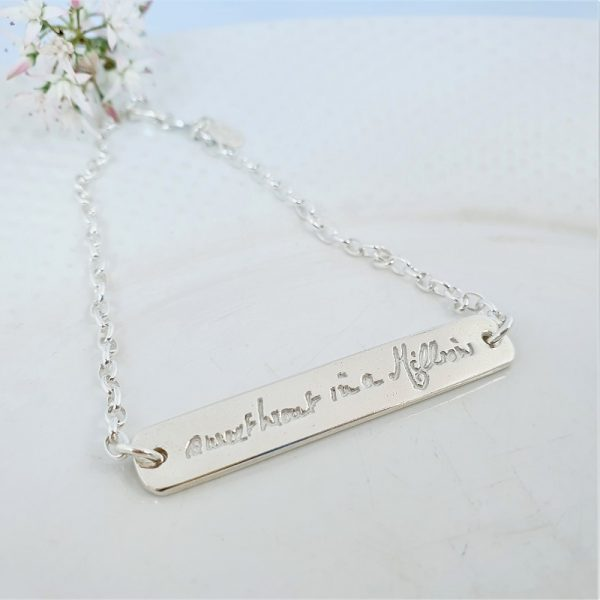 Sterling silver bracelet with handwriting